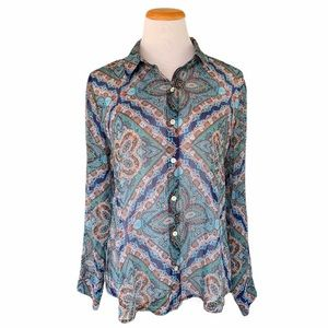 Chico's Button Down Shirt Top Sheer Paisley Blue M